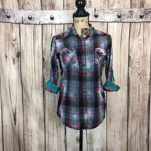 Roar Blue Plaid Embellished Button Down Shirt 4